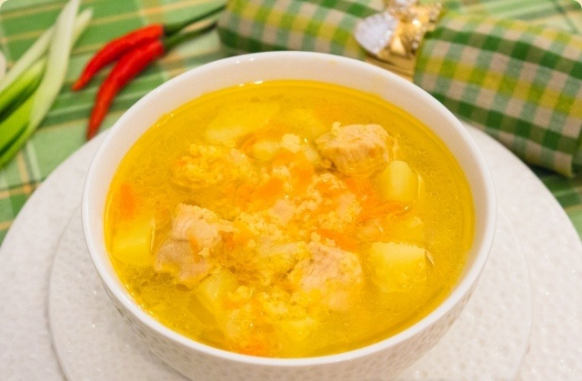 Суп с индейкой и пшеном