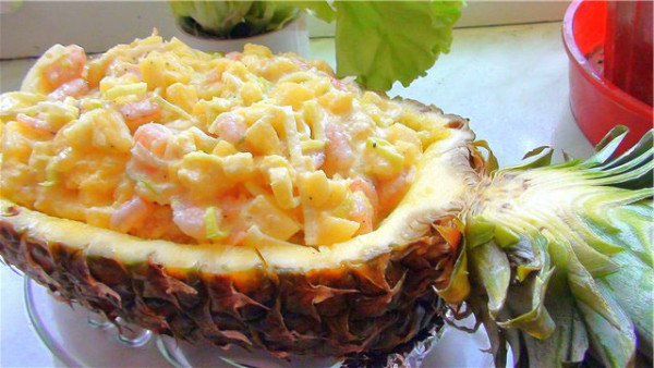 Салат с креветками ананасом и сыром рецепт с
