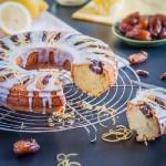 Лимонный кекс на манке с финиками и глазурью из йогурта