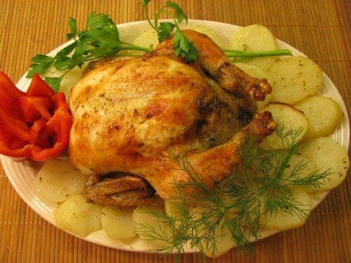 Курица запеченная картошкой рецепт фото