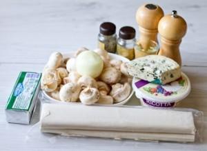 Закусочний штрудель з грибами і сиром
