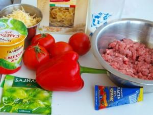 Запіканка з фарфалле з яловичиною та овочами