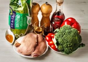 Салат з качки з овочами і соусом наршараб