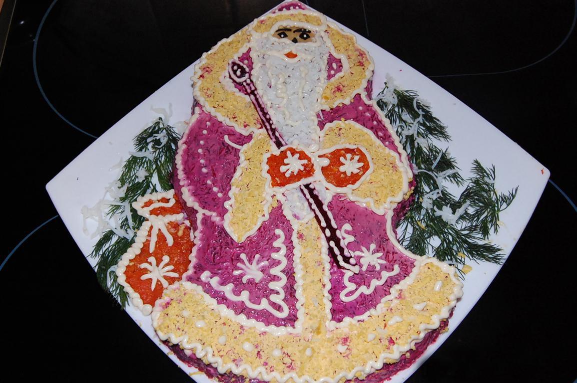 Новогодняя сельдь под шубой «Дед Мороз»