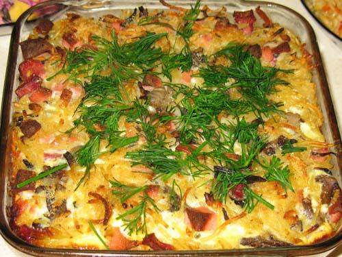 Запеканка из спагетти с овощами