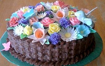 Торт цветок из мастики 26