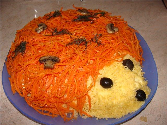 Салат «Їжачок» з корейською морквою