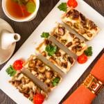 Тарт з білими грибами та цибулею-пореєм