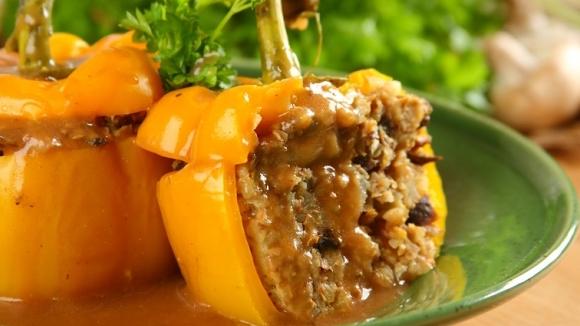 Перец фаршированный гречкой и грибами