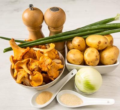 Печена картопля з лисичками