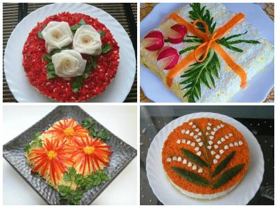 Как украсить салаты на новый год 2016